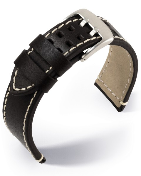 EULIT Uhrenarmband Pilot, Leder, schwarz, Kalb- Rinderleder glatt mit Doppeldornschließe
