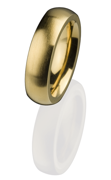 Ernstes Design Vorsteckring, Beisteckring, ED vita, Ring aus Edelstahl 6 mm R258 vergoldet