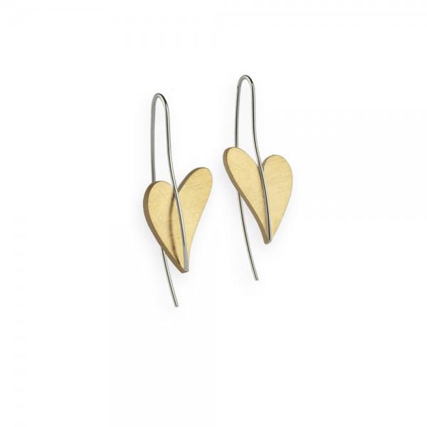 Herz Ohrhänger von Ernstes Design in Edelstahl gelbgold, E242 geschwungenes Herz