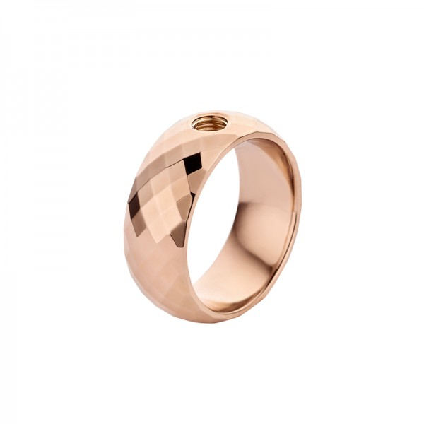 Melano Vivid Ring VAI Edelstahl rosé beschichtet facettiert M01R 9090 Breite 8 mm