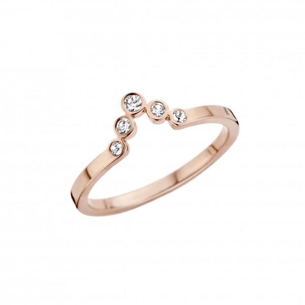 Melano Friends Vorsteckring, schmaler Ring aus Edelstahl Farbe rosé ca. 2 mm mit Zirkonia