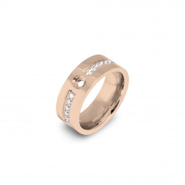 Melano Twisted Ring Flat CZ Edelstahl rosé beschichtet mit Zirkonia TR19