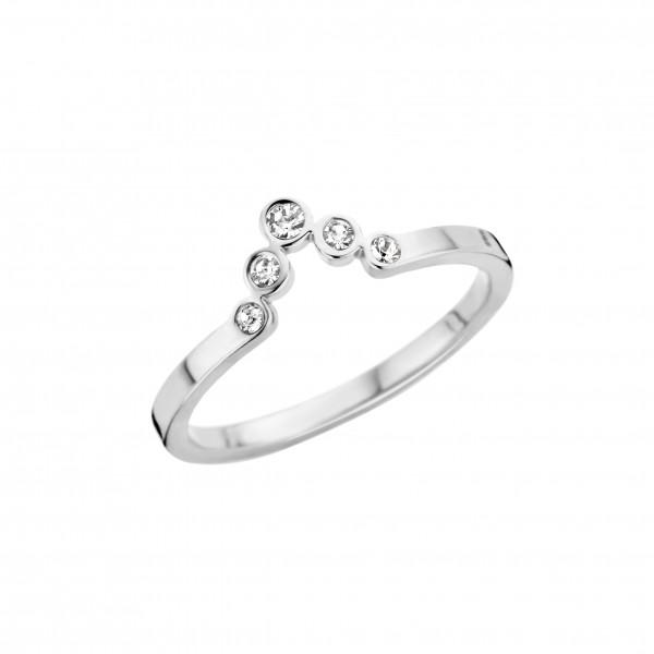 Melano Friends Vorsteckring, schmaler Ring aus Edelstahl ca. 2 mm mit Zirkonia