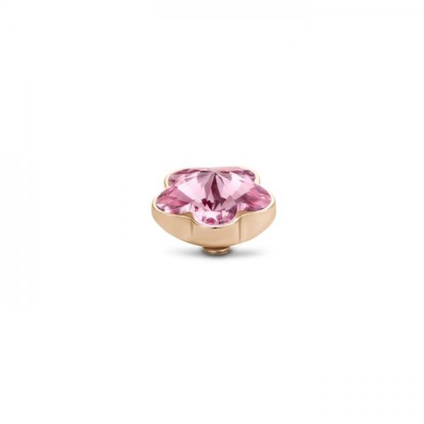 Melano Twisted Ringaufsatz, Fassung Blume, Edelstahl rosé mit Zirkonia in Farbe rosa, TM71