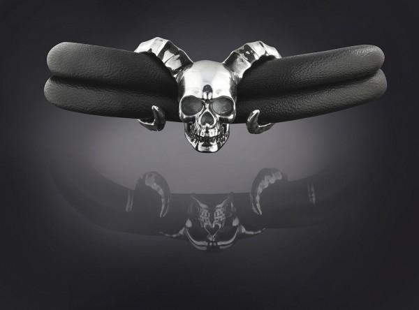 Rebeligion Armband Komplett Totenkopf mit Armband Black Rock Large / Men von Rebeligion True Silver