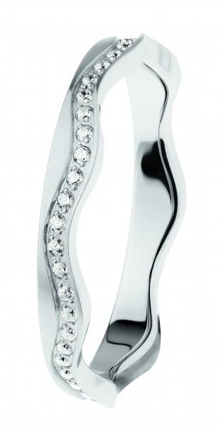 Ernstes Design R560 Evia Ring, Welle, Vorsteckring, Edelstahl, 3mm mit Zirkonia