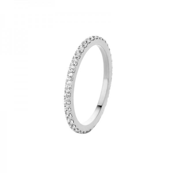 Melano Vorsteckring, Beisteckring, schmaler Ring aus Edelstahl mit Zirkonia Farbe Kristall