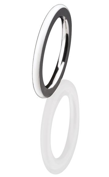 Ernstes Design Vorsteckring, Beisteckring, ED vita, Ring aus Edelstahl 2 mm mit Keramikauflage R275