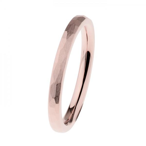 Ernstes Design R541 Evia Ring, Vorsteckring, Edelstahl rosé beschichtet, poliert, facettiert, 2 mm