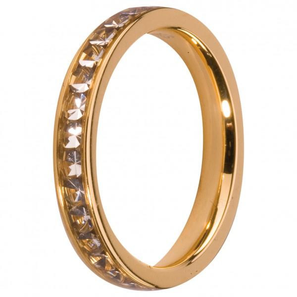 Melano Vorsteckring, Beisteckring, schmaler Ring aus Edelstahl Farbe gold mit Zirkonia