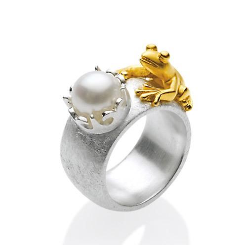 Drachernfels Ring Frosch mit Perle Silber goldplattiert D FR 131 Drachenfels Design Froschkönigring
