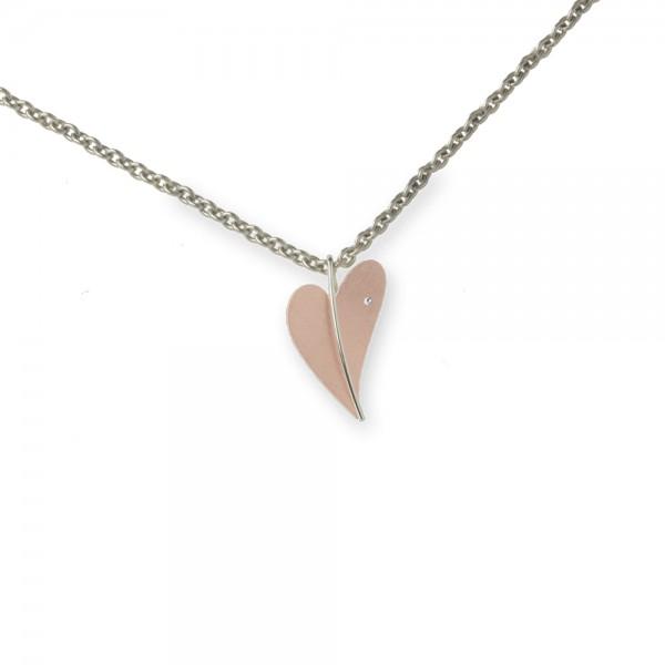 Ernstes Design Anhänger, Herz aus Edelstahl teilvergoldet rotgold mit Diamant ohne Kette, AN275