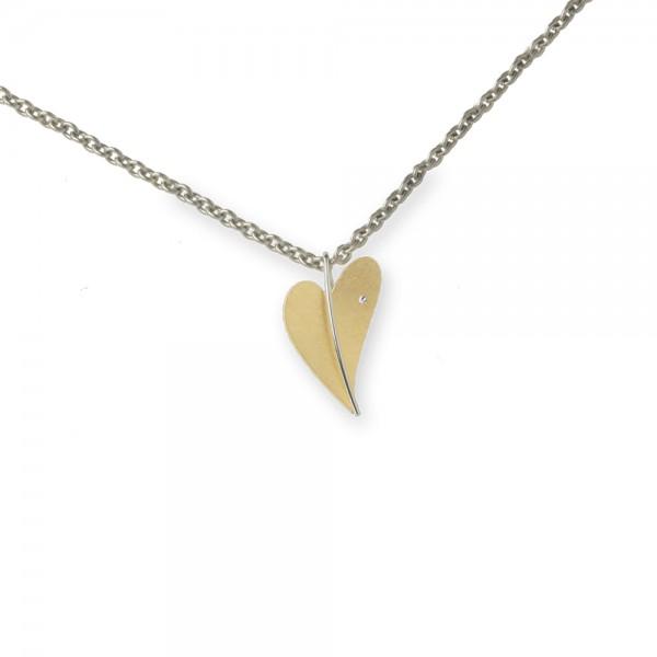 Ernstes Design Anhänger, Herz aus Edelstahl teilvergoldet gelbgold mit Diamant ohne Kette, AN274