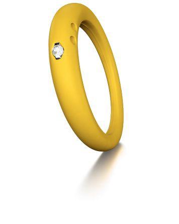 Duepunti Ring aus Silikon in gelb mit einem Diamanten DPR 1023