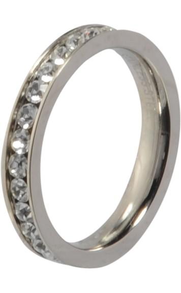 Melano Vorsteckring, Beisteckring, schmaler Ring aus Edelstahl mit Zirkonia Kristall