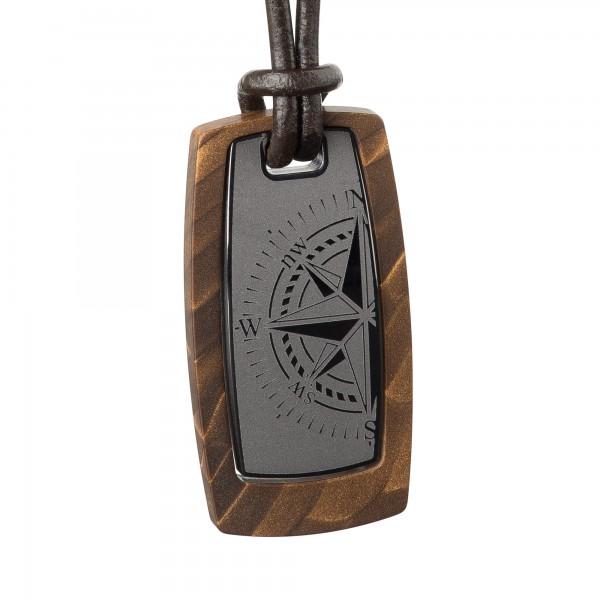 Schmuck für Männer von Ernstes Design K602.B Kette / Collier beschichtet mit Lederband ca. 17 x 34mm
