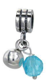 Piccolo Silber Anhänger mit Perlenoptik blue, Charms, Bead Silber APJ 023 von Piccolo das Original