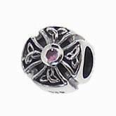 Silber Charms mit rosa Stein, Kugel, Bead Silber APX-017 von Piccolo das Original