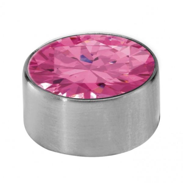 Melano Edelstahl Fassung, Aufsatz für Ring von MelanO Schmuck zum Wechseln M01SR 4065B pink