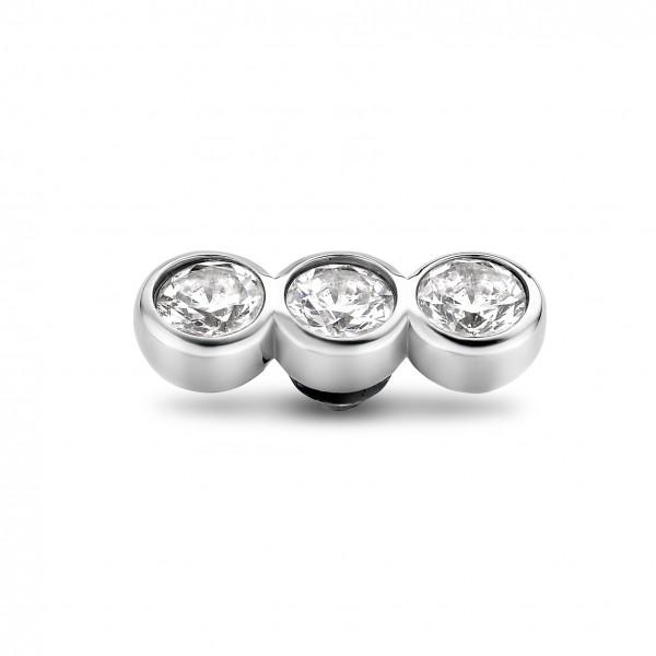 Melano Twisted Ringaufsatz, Fassung Edelstahl Tripple Zirkonia in Farbe Kristall