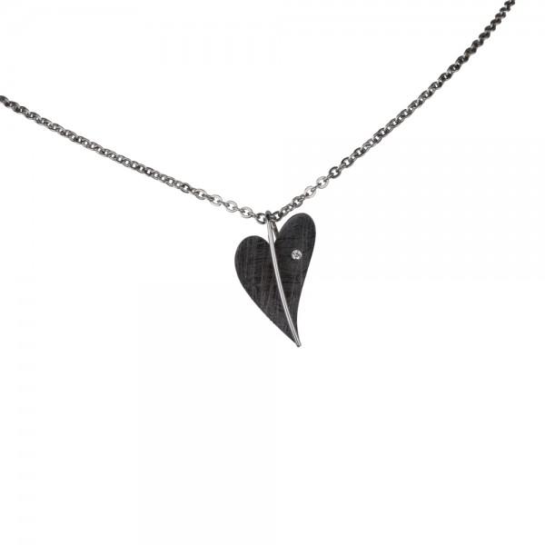 Ernstes Design Anhänger, Herz Edelstahl schwarz beschichtet mit Diamant ohne Kette, AN415