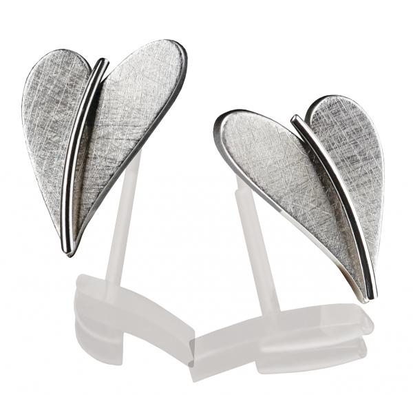 Herz Ohrstecker von Ernstes Design in Edelstahl, E244 geschwungenes Herz