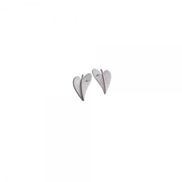 Herz Ohrstecker mit Diamant von Ernstes Design in Edelstahl, E264 geschwungenes Herz