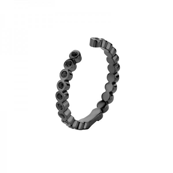 Melano Vorsteckring, Beisteckring, schmaler Ring TINA CZ Black aus Edelstahl mit Zirkonia