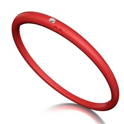 Duepunti Armreif Reif Bangles aus Silikon in Rubin rot mit einem Diamanten