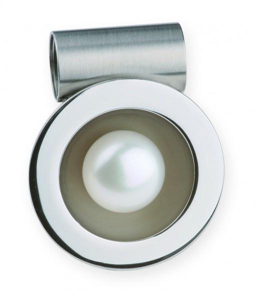 Ernstes Design AN169, ED vita Wechselhülse Edelstahl matt / poliert mit SW-Button-Perle