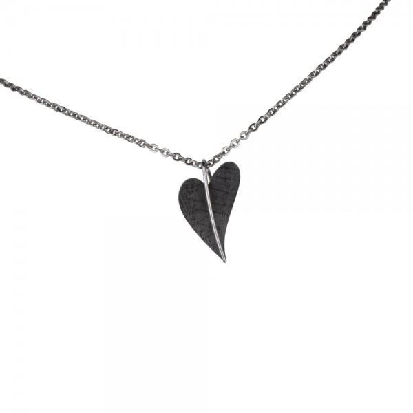 Ernstes Design Anhänger, AN413, Herz aus Edelstahl schwarz beschichtet ohne Kette