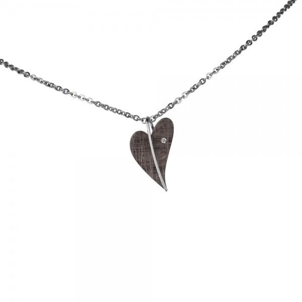 Ernstes Design Anhänger, Herz aus Edelstahl altbronze beschichtet mit Diamant ohne Kette, AN414