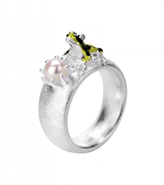 Drachernfels Ring grüner Frosch mit Perle Silber D GFR 132 Drachenfels Design Giftpfeilfroschkönig