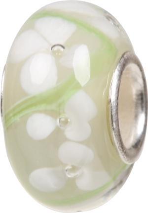 Murano Bead, Murano Glaskugel für Bettelarmband weiss, GPS 04 von Charlot Borgen Design