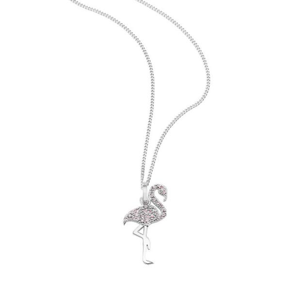"""So Cosi """"Pink Flamingo"""" Halskette, Collier, Anhänger inkl. Kette Silber mit Steinen SK-005-2"""