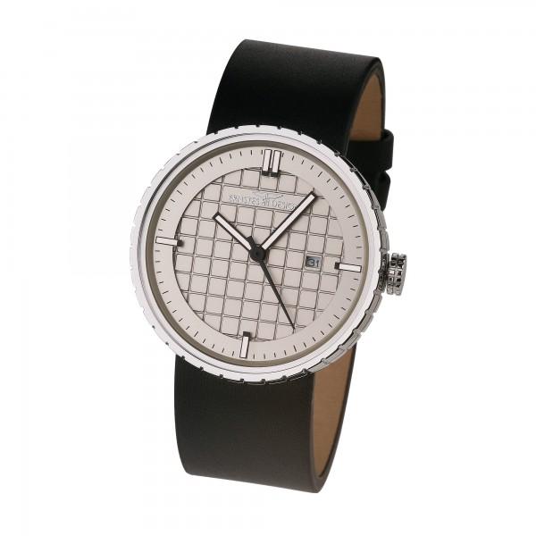 Ernstes Design Herren-Armbanduhr Edelstahl mit Lederarmband U013 BL Ø ca. 43,5 mm