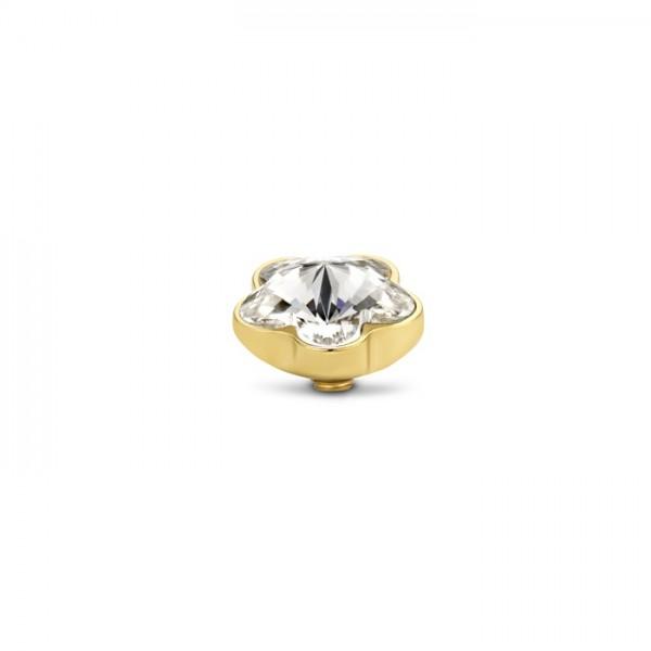 Melano Twisted Ringaufsatz, Fassung Blume, Edelstahl goldfarben mit Zirkonia in Farbe kristall, TM71