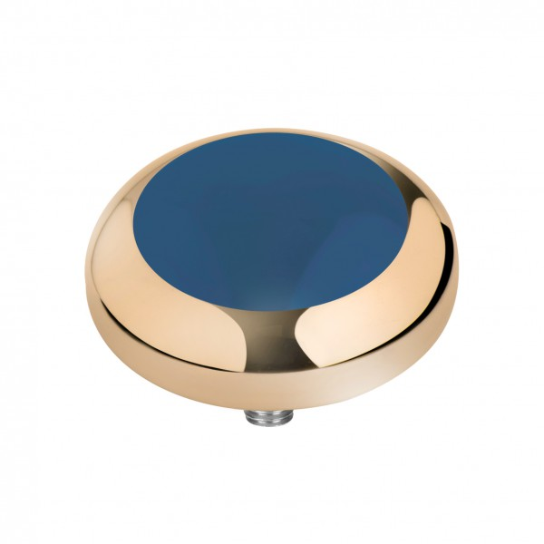 Melano Vivid Kopf Aufsatz Fassung Resin Meddy´s Edelstahl goldfarben mit Zirkonia Farbe petrol