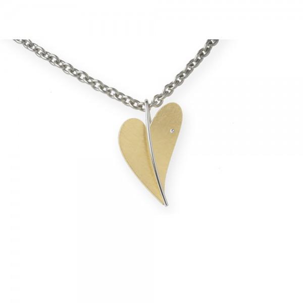 Ernstes Design Anhänger, Herz aus Edelstahl teilvergoldet gelbgold mit Diamant ohne Kette, AN227
