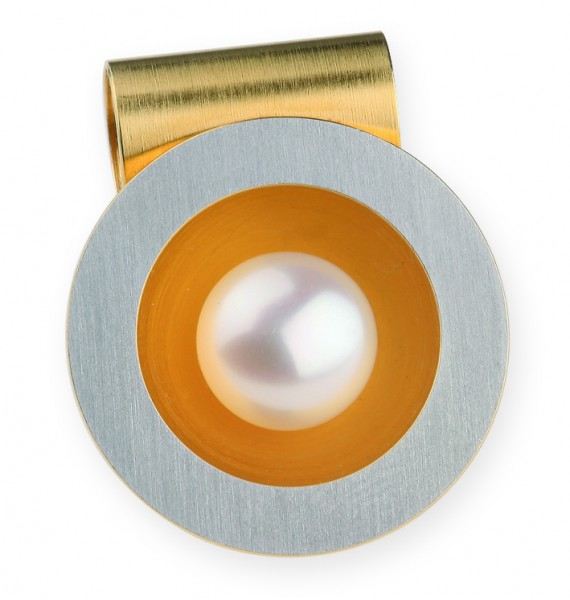 Ernstes Design AN170, ED vita Wechselhülse Edelstahl matt teils goldfarben beschichtet mit Perle
