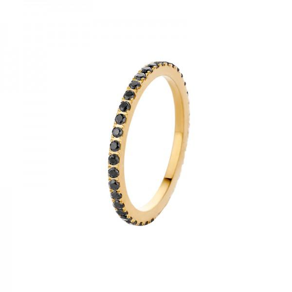 Melano Vorsteckring, schmaler Ring aus Edelstahl goldfarben mit Zirkonia Steinen in Farbe schwarz
