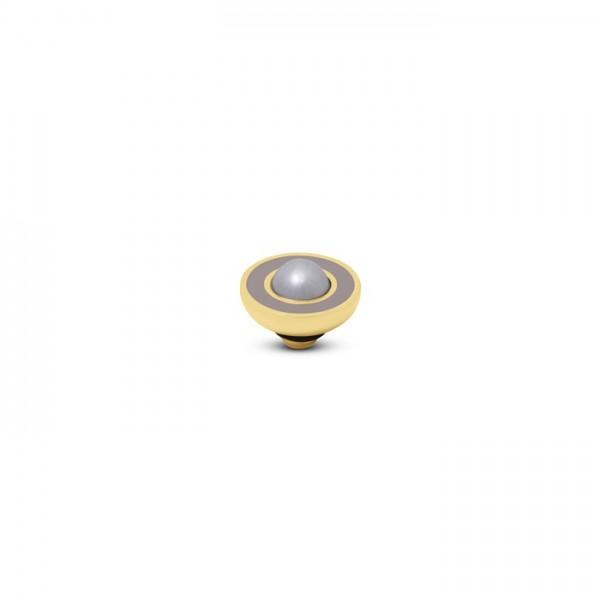 Melano Vivid, VM34 Aufsatz / Fassung Resin Pearl, 8mm, Edelstahl goldfarben, in taupe und beige