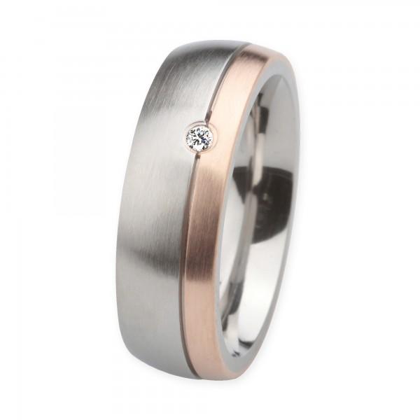 Ernstes Design Ring, Edelstahl matt / 750er Roségold, Brillant TW/SI 0,035 ct., 7 mm, R232.7