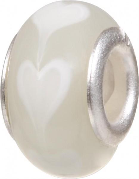 Murano Bead, Murano Glaskugel für Bettelarmband weiss, GPS 08 von Charlot Borgen Design