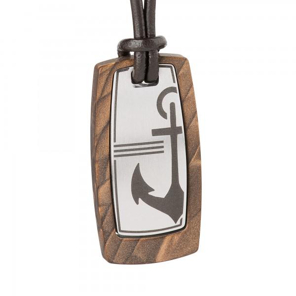 Ernstes Design Männerkollektion K606.B Kette / Collier silk wood braun mit Lederband ca. 17 x 34 mm