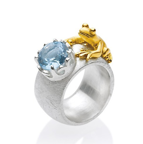 Drachernfels Ring Frosch mit Topas Silber goldplattiert D FR 111 Drachenfels Design Froschkönig Ring