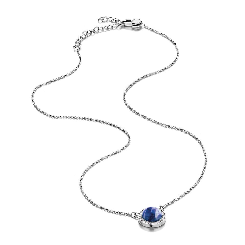Melano Friends Halskette Edelstahl mit Anhänger Sodalith und Zirkonia weiß FN8 SS 40000