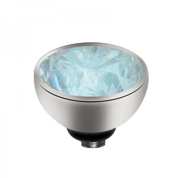 Melano twisted Fassung Aufsatz Mini Edelstahl mit Zirkonia Mondsteinfarben 4 mm