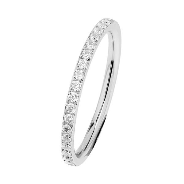 Ernstes Design Evia Ring, Vorsteckring, Beisteckring, Ring mit Zirkonia Steine rundherum R453.WH