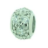 Silber Charms mit Swarovski Steinen Anhänger, Kugel, Bead Silber APZ 003 von Piccolo das Original